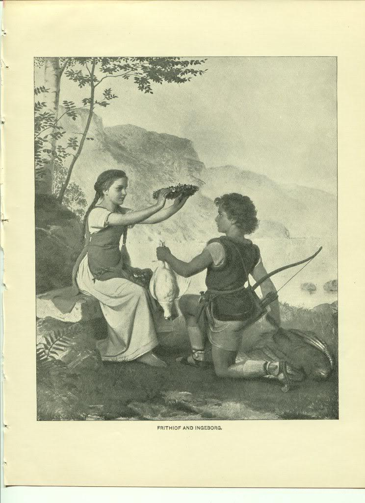 Frithiof and Ingeborg. Bendemann. Antique 1892 typogravure print.