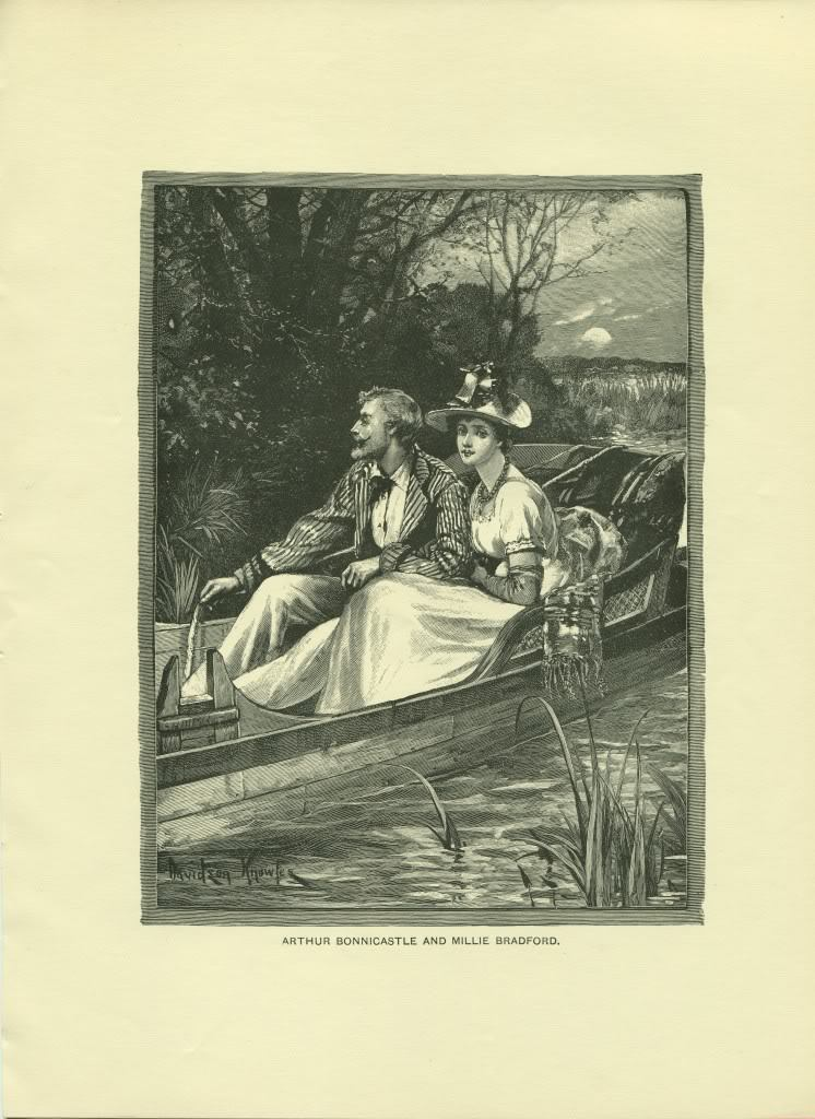 Arthur Bonnicastle and Millie Bradford. Knowles. 1892 wood engraving print.