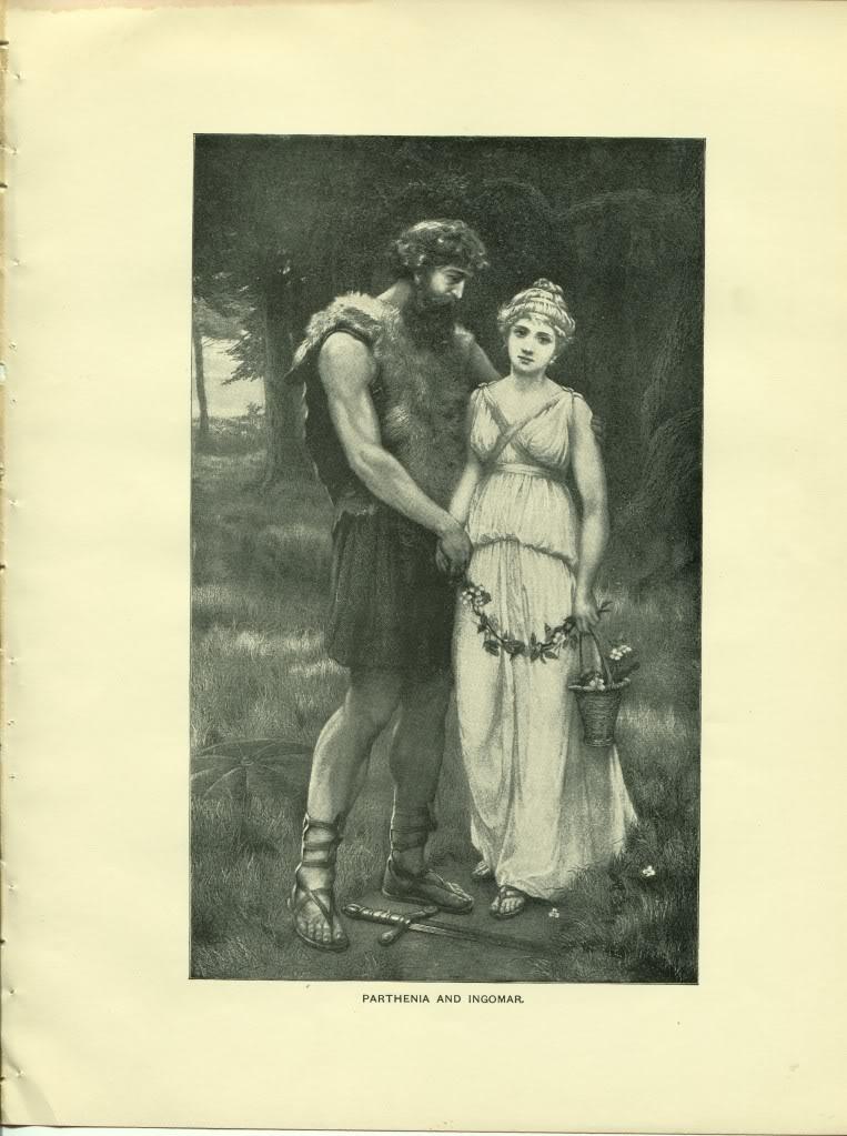 Parthenia and Ingomar. Swinstead. Antique 1892 typogravure print.