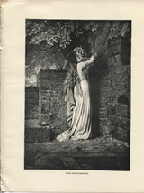 Immo and Hildegard. Kaulbach. Antique 1892 wood engraving print. - $12.00