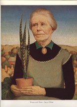 Grant Wood. Woman with Plants. Vintage American Artists 1939 print. 9X12 - $26.46