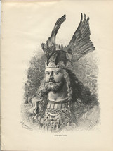 King Gunther. Nibelungenlied. B. Guth. Antique 1892 wood engraving print - $14.70