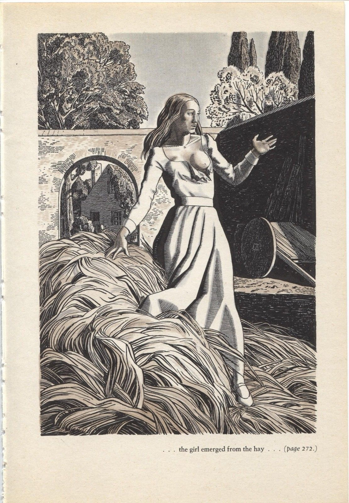 "Rockwell Kent ""the girl emerged from the hay"", The Decameron. Vintage 1949 print"