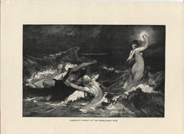 Wagner: Alberich's Pursuit of the Nibelungen Ring. 1892 wood engraving p... - $12.00