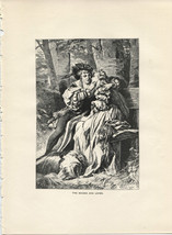 The Maiden and Lover. Benczur-Gyula. Antique 1892 wood engraving print. - $12.00