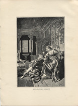 Heinrich Heine's Donna Clara and Almanzor. Antique 1892 wood engraving p... - $14.70