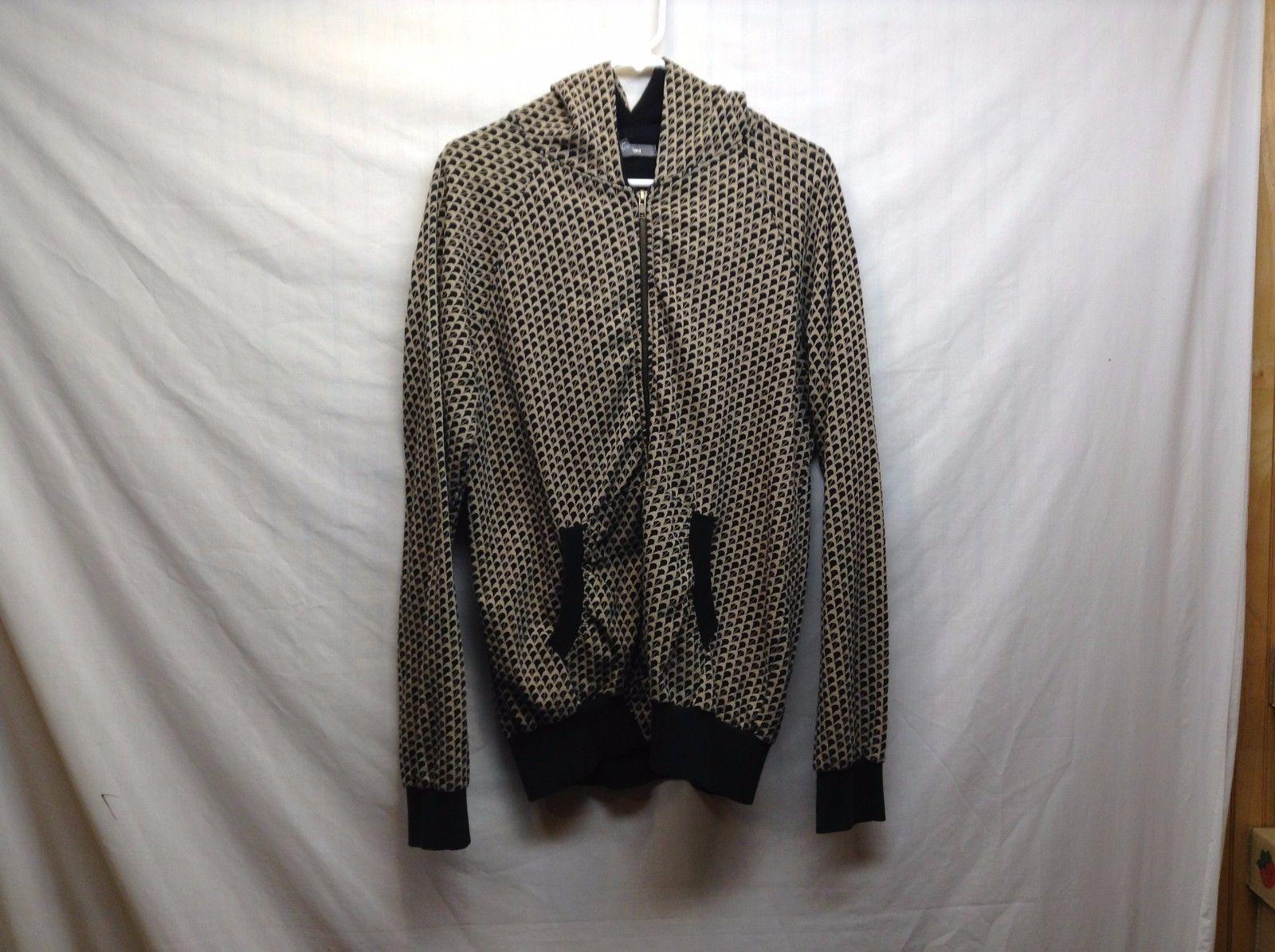 Heritage 1981 Hooded Zippered Beige/Black Sweatshirt/Hoodie Sz LG