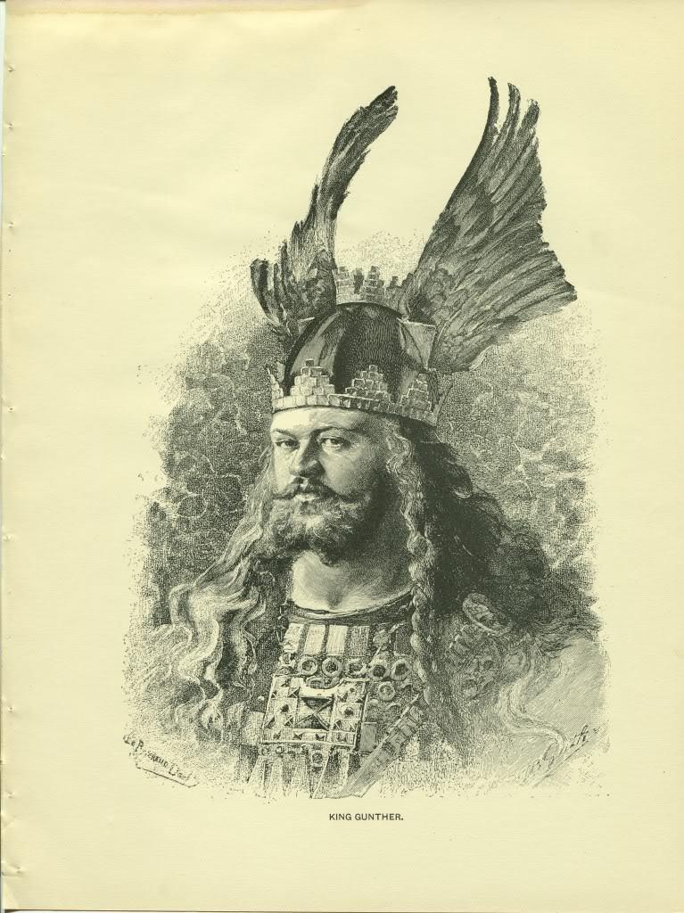 King Gunther. Nibelungenlied. B. Guth. Antique 1892 wood engraving print