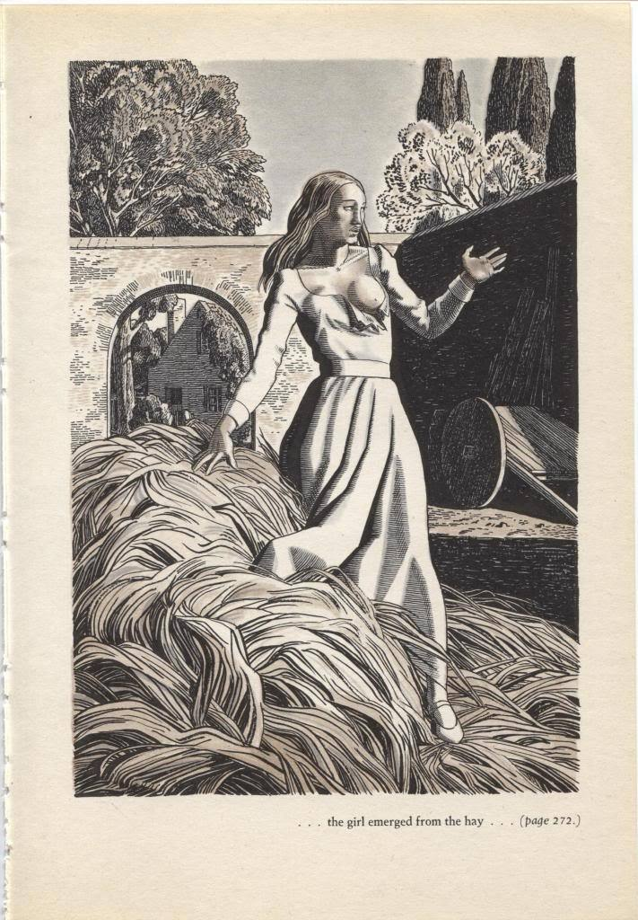 """Rockwell Kent """"the girl emerged from the hay"""", The Decameron. Vintage 1949 print"""