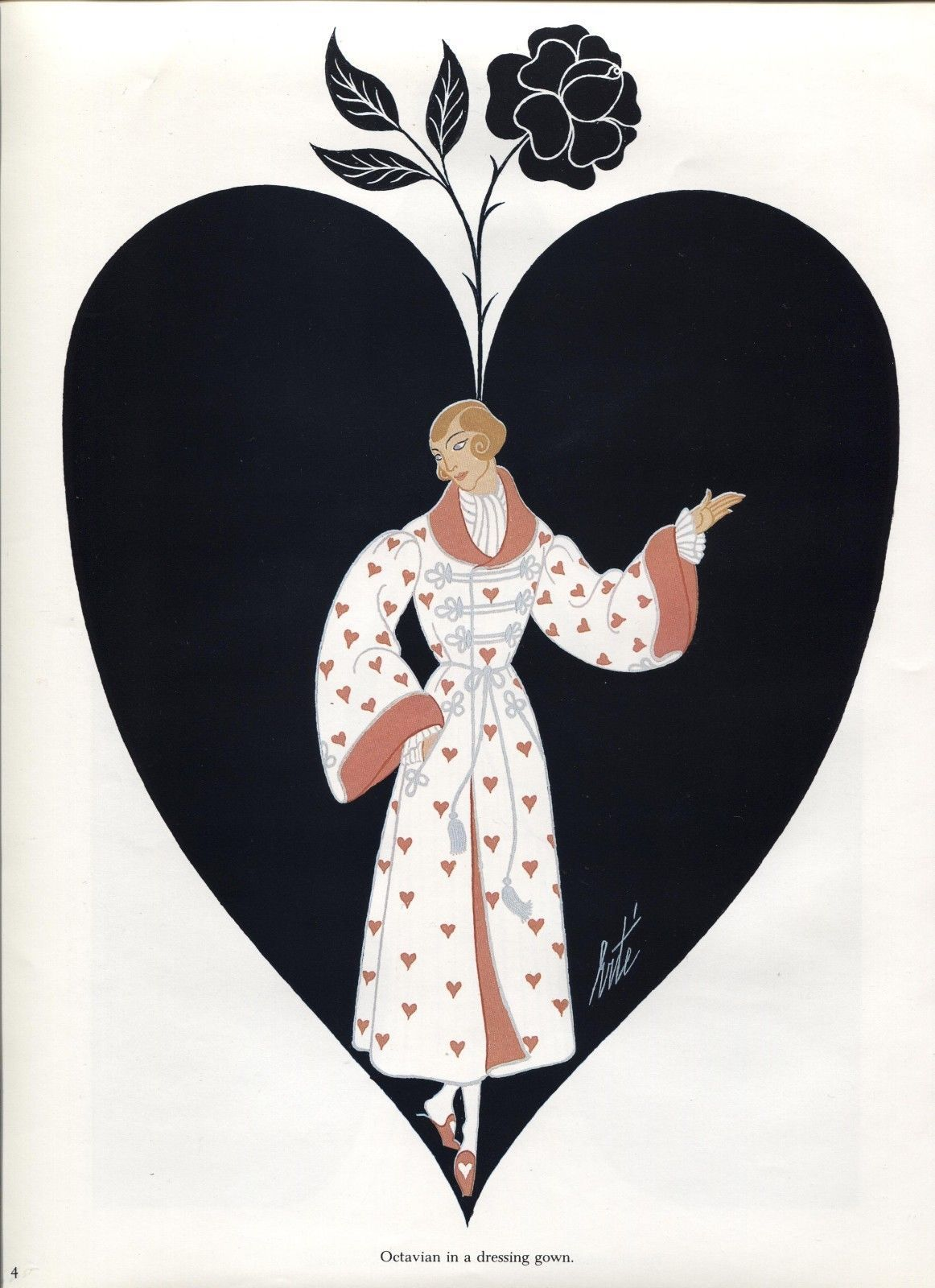 Erte, Octavian 2, Der Rosenkavalier Costume design. Vintage 1980 Art Deco print