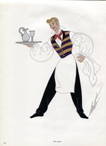 Erte, The Waiter, Der Rosenkavalier Costume design. Vintage 1980 Art Dec... - $15.79