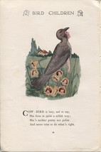 Elizabeth Gordon's Bird Children: Cow-Bird. M.T.Ross 1912 lithograph print - $12.00