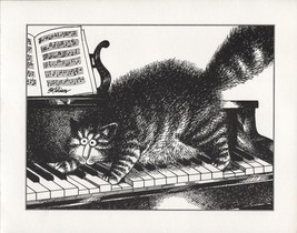 Kliban Cats. Piano Scaredy Cat. Vintage 1981 print. 9 x 11 - $16.95