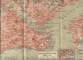 "Map: ""Konstantinopel"" (Constantinople). Antique German 1888 print. - $16.95"
