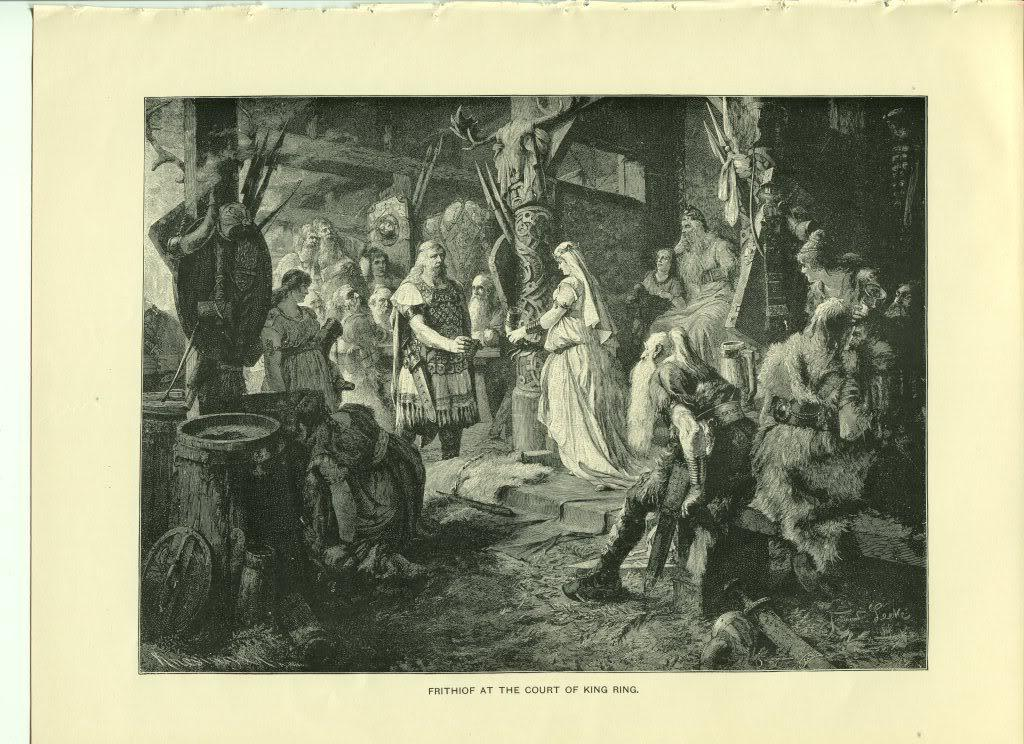 Frithiof at the Court of King Ring. F. Leeke. Antique 1892 wood engraving print.
