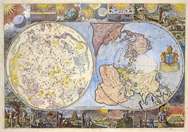 1699 Map of the Heavens and the Earth Philip Lea Celestial Terrestrial Poster - $12.38