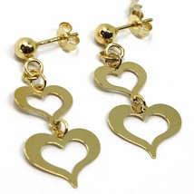18K YELLOW GOLD PENDANT EARRINGS, DOUBLE FLAT HEARTS, 3cm, 1.2 INCHES  image 2