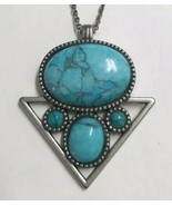 American Eagle Faux Turquoise Stone Silver Tone Pendant Necklace - $11.87