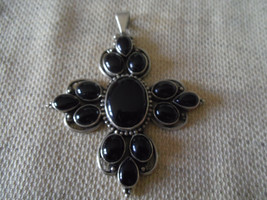 """925 STERLING SILVER LARGE BLACK ONYX  PENDANT 2 7/8"""" (HALLMARKED IN THE UK) - $197.99"""