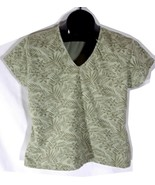 NorthCrest Womens Tropical Themed Blouse Shirt Large Green I - $11.99