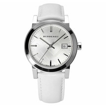 Burberry BU9128 The City Silver Dial White Leather Strap - 38 mm - Warranty - $285.00