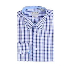 Men's Checkered Plaid Dress Shirt - Purple, Large (16-16.5) Neck 34/35 Sleeve