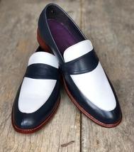 Handmade Men's Black & White Slip Ons Loafer Leather Shoes image 2