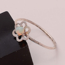 NATURAL ETHIOPIAN OPAL 3 MM ROUND 925 STERLING SILVER 5.5 US RING DS-270 - £6.45 GBP
