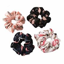12 Pcs Multicolor Flamingo Hair Scrunchies Elastic Hair Band Ponytail Hair Ties