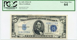 FR. 1651 1934A $5 Silver Certificate PCGS Very Choice New 64 - $67.90
