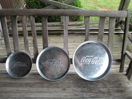 Coca-Cola Set of 3 Galvanized Round Serving Dish Tray Embossed Logo  - B... - $19.80