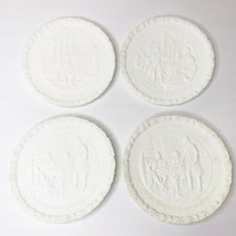 White Satin Milk Glass Bicentennial Plates, complete set of 4 - Vintage ... - $12.87