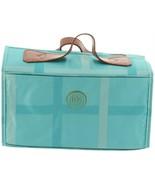 JOY Plaid Nylon Leather Lg Better Beauty Case Turquoise One Size NEW 611... - $44.53