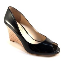 Jessica Simpson Lorion Black Patent Peeptoe Wedge Pumps Size 8 - $55.30