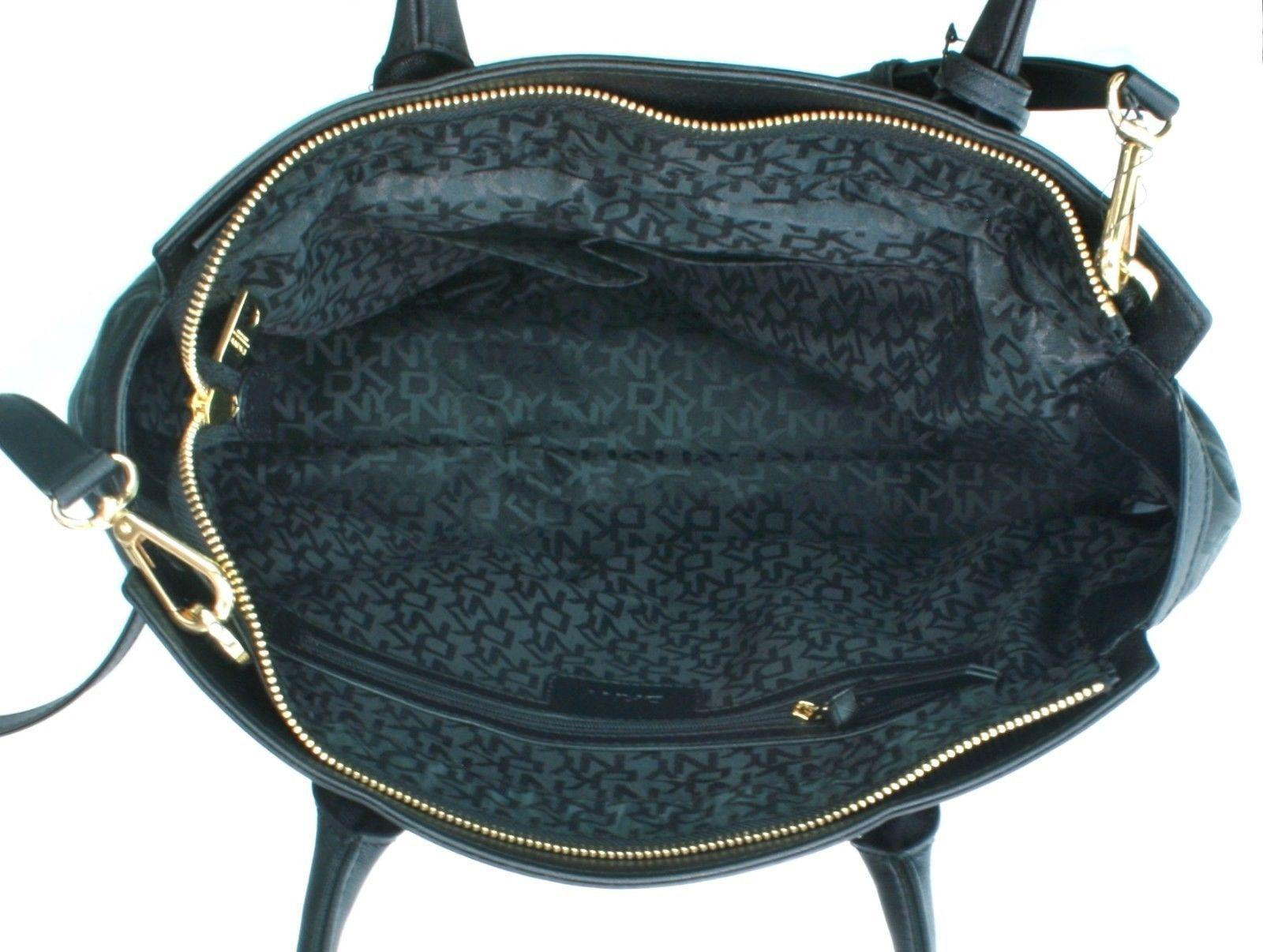 DKNY Donna Karan Heritage Black Leather Canvas Tote Cross Body Bag Handbag