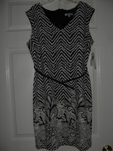Sandra Darren New Womens Black/Ivory Printed Belted Sheath Dress    12 - $19.98