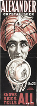 "Theatrical Poster Advertising Alexander Crystal Seer Magician Print 8""x2... - $17.33"