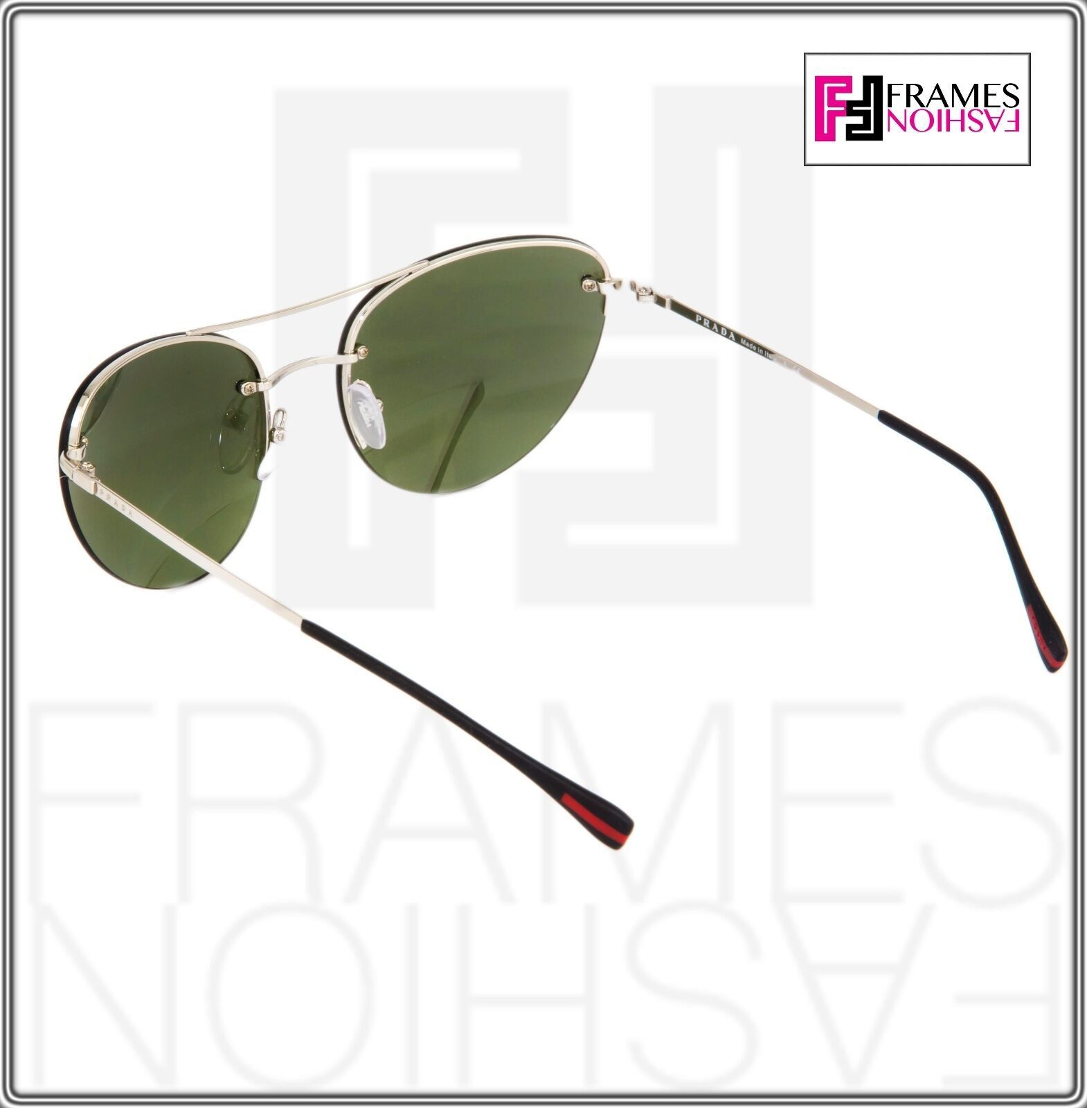 PRADA 51R Linea Rossa Spectrum Cat Eye Sunglasses Silver Green Mirrored PS51RS