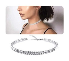 Eoumy Silver Rhinstone Choker Necklace Dimond Necklaces for Women 2 Row - $10.24