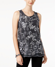 Charter Club Embroidered Top in Iron Grey, Medium - $44.54