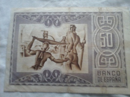 banknote 50 pesetas 1937, Bank of Bilbao, Painting of Picasso on the rev... - $15.00