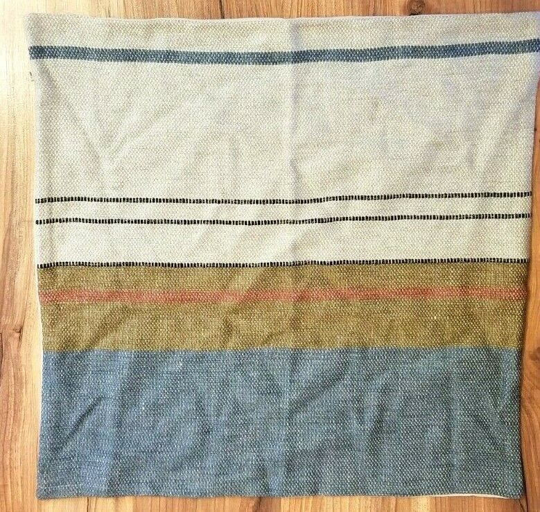 Primary image for Pottery Barn Throw Pillow Cover SARITA HANDA Linen STRIPES 22x22 NWOT #8