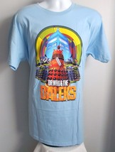 Mens Dr Who & the Daleks XL T Shirt large logo colorful blue slim fit - $21.73