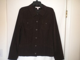 JM Collection Size 14 Brown Button Front Long Sleeve Medium Weight Women Shirt - $12.19