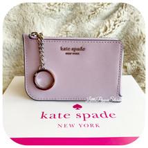 KATE SPADE CAMERON MEDIUM L-ZIP CARD HOLDER IN LAVENDER MIST/PETROL BLUE - $39.48