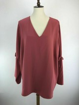 Cooper & Ella Blouse Top Womens 3X Pink Ruched Tie Long Sleeve V-Neck C5... - $9.58