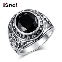 Wbmqda Fashion Silver Color Ring Men Wedding Paty Accessories Punk Black... - $15.28