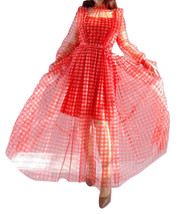 Red Long Tutu Dress Gowns Long Sleeve Vintage Inspired Pink Plaid Pattern image 1