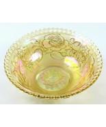 Iridescent Amber Rose Design Carnival Glass Bowl w/ Scalloped Edge - £13.05 GBP