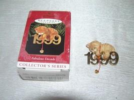 Hallmark Keepsake Orange Tabby Cat w Brass 1999 & Bell FABULOUS DECADE Christmas - $10.39